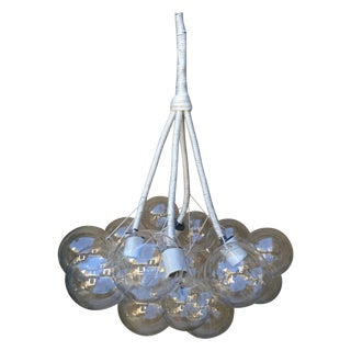 White Woven Rope & Glass Spheres Chandelier