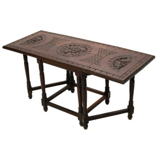 Folding Mahogany Side Table w/Floral Hand Carving