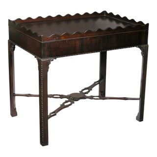 Chippendale Mahogany Tea Table with Scalloped Edge & Carved Fluted Legs