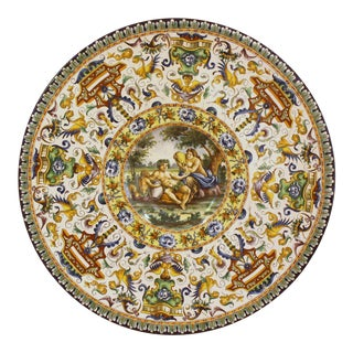 Two Large Renaissance Style Hand Painted Faience Chargers