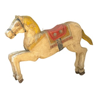 Antique Wooden Polychrome Carousel Horse