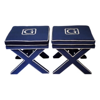 Customizable Monogrammed X Benches - A Pair
