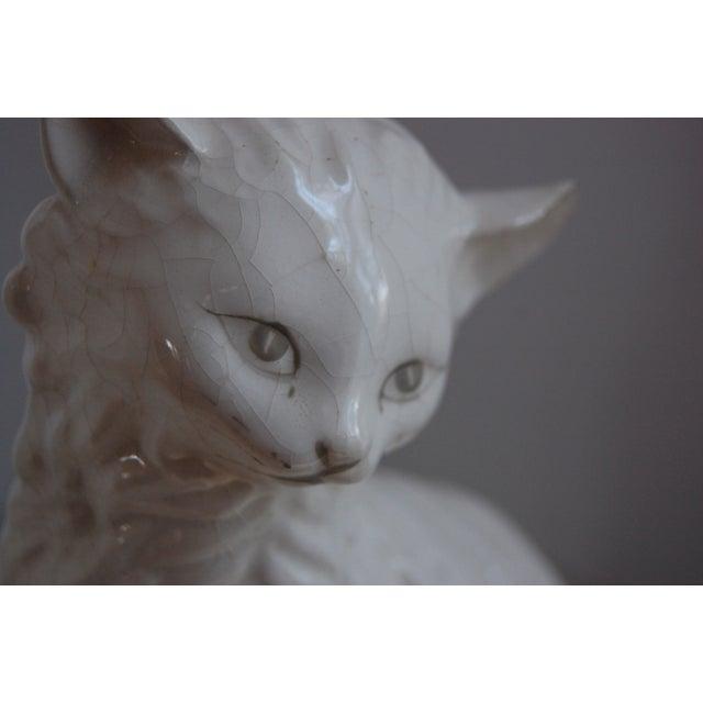 Image of Vintage White Porcelain Cats - A Pair