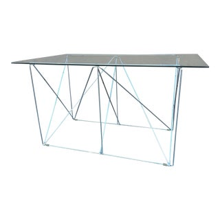 Max Sauze 1970 Chromed Steel Collapsable Table With Glass Top