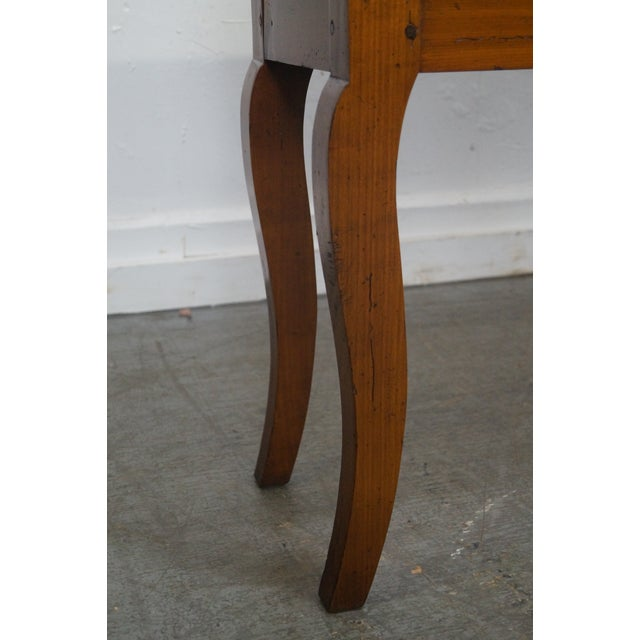 Custom French Country Cherry Wood Console Tables - A Pair - Image 9 of 10