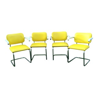 Vintage Cantilevered Yellow Vinyl & Chrome Arm Chairs- Set of 4