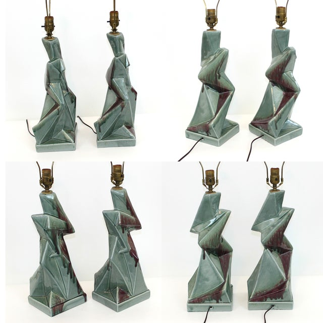 1950s Modern Cubist Ceramic Lamps - A Pair - Image 2 of 10