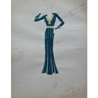 Original Edith Sparag Sketch New York Fashion 1930