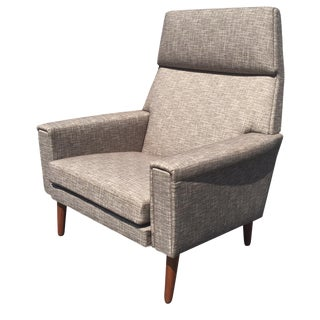 Danish Space Age Lounger in Gray Tweed