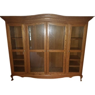 Traditional Oak Wood China Display Cabinet