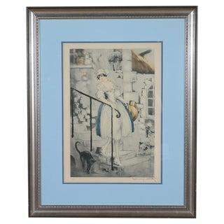 "Louis Icart "" Milkmaid"" Original 1928 Etching"