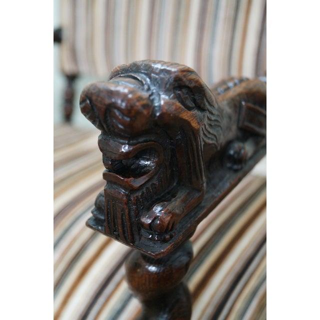 Antique Oak Lion Barley Twist Armchairs - A Pair - Image 10 of 10