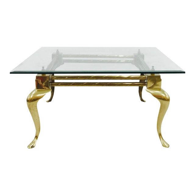 Vintage Mid-Century Modern Brass & Glass Coffee Table