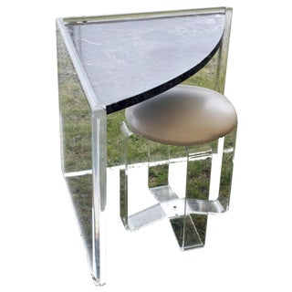 Les Prismatiques French Lucite Corner Vanity Table