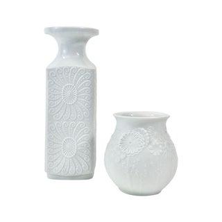 KPM & Kaiser Floral White Porcelain Vases - A Pair