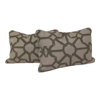 Graphic Gray Covered Pillows - A Pair