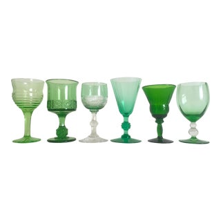 Vintage Mid-Century Petit Green Wine Cordial Glasses- Set of 6