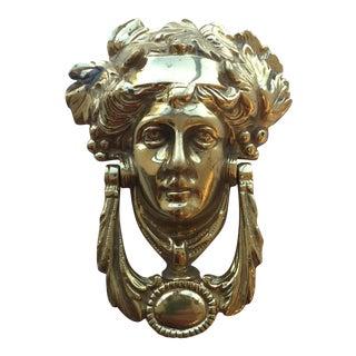 Neoclassical Solid Brass Greek God Apollo Door Knocker