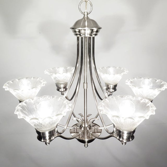 Stainless Steel & Halophane Chandelier - Image 2 of 7