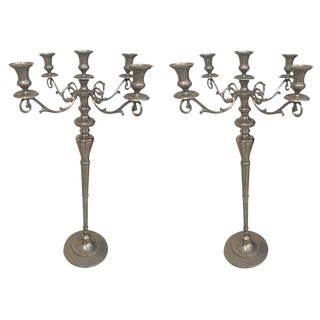Metal Standing Candlestick Holders or Candelabra - A Pair