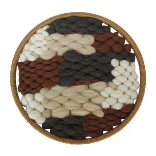 Round Boho Textile in Wool and Jute II