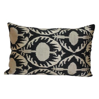 Black & Beige Silk Velvet Ikat Accent Pillow