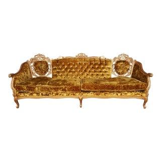 Vintage Hollywood Regency Crushed Velvet Sofa