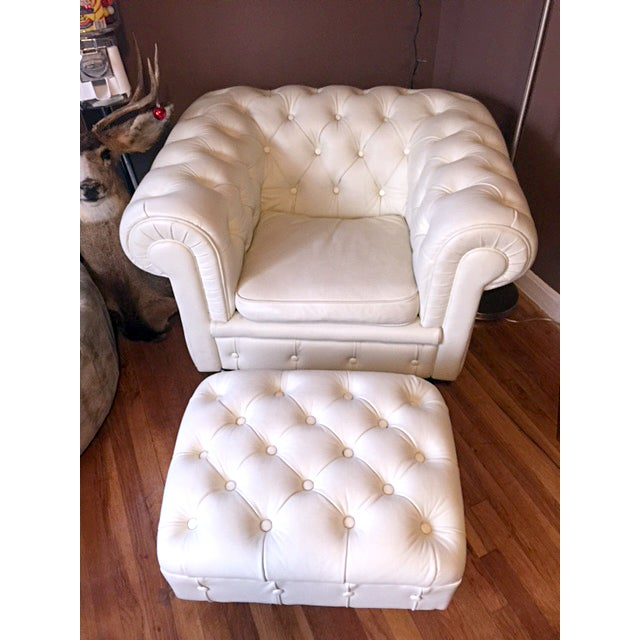 Faux Leather Tufted Armchair - Image 2 of 5