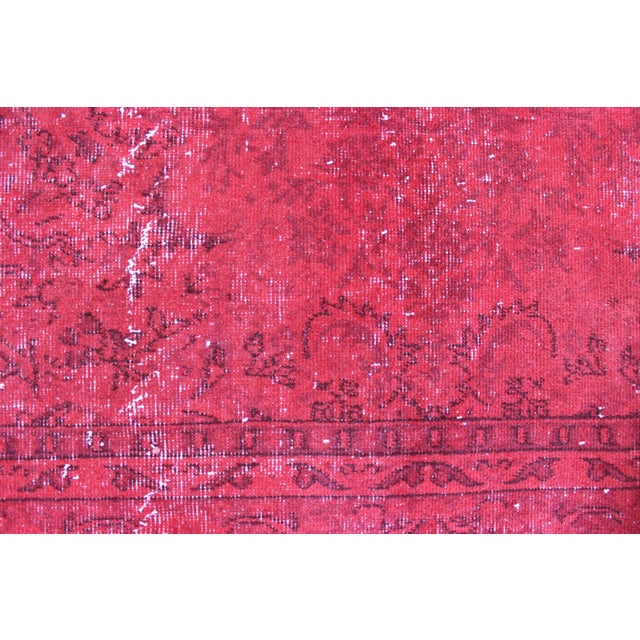 Red Overdyed Vintage Turkish Rug - 7′ × 10′10″ - Image 4 of 8