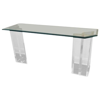 Console with Lucite Dual Base and Glass Top