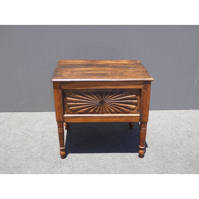 Spanish Style Carved Wood Chest End Table - Image 2 of 11