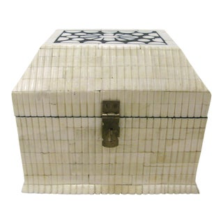 Vintage Black & White Tessellated Bone Dome Box