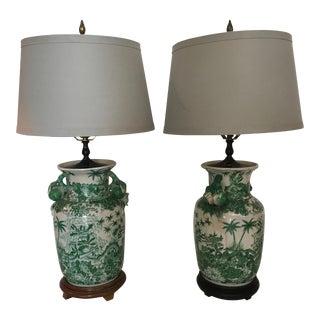 Asian Motif Ginger Jar Table Lamps - A Pair