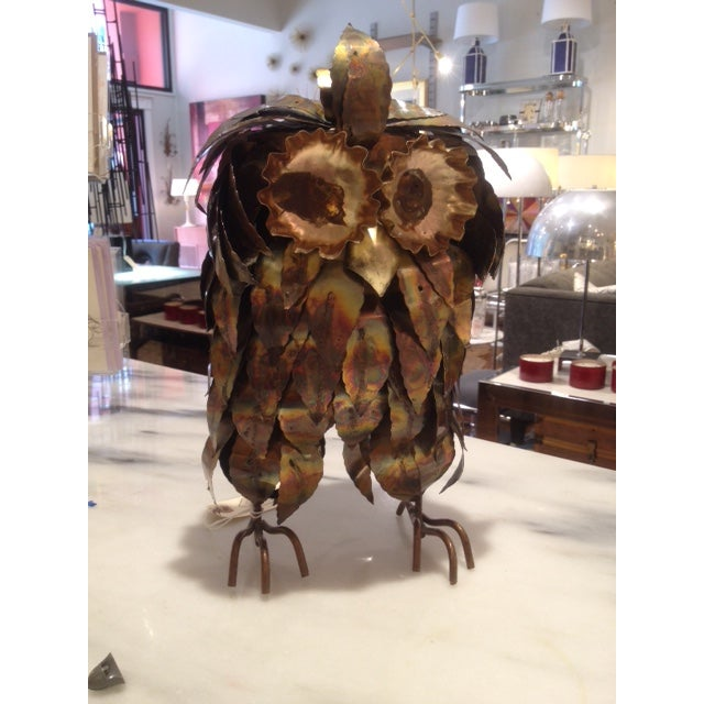 Curtis Jere Style Large Brass Brutalist Owl - Image 2 of 3