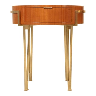 Pair of Cherry Mid-Century Modern Tables with Brass Legs and Drawer