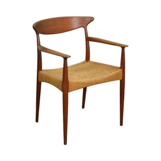 Danish Modern Solid Teak Rush Seat Arm Chair