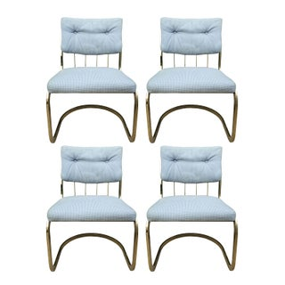 Milo Baughman Style Brass Chairs - Set of 4