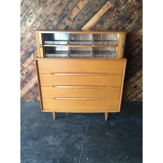 Brown Saltman Mid-Century Tambour Highboy Dresser - Image 5 of 7