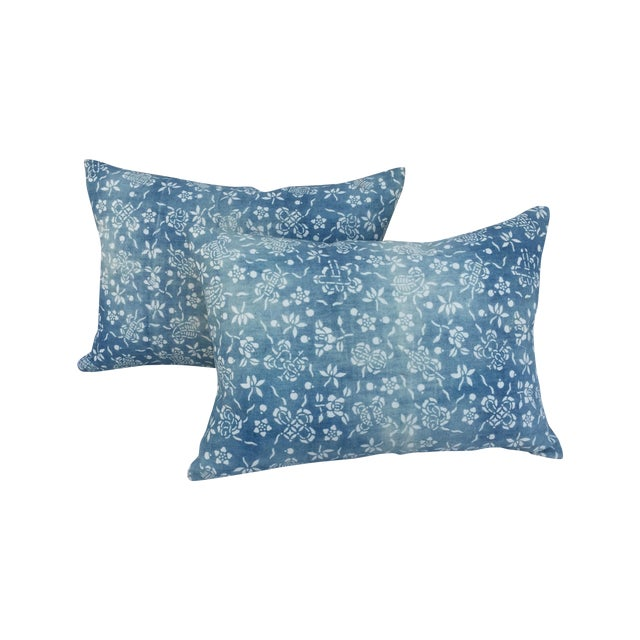 Image of Blue & White Butterfly Pillows - Pair