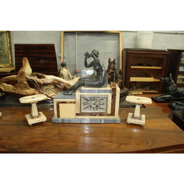 Set Of French Art Deco 3 Piece Clock Garniture Marble wit Woman Sitting h Circa 1940s - Image 11 of 11