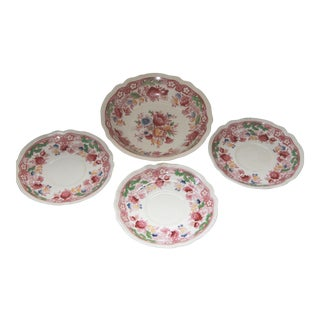 Johnson Brothers Dorchester Transferware Saucers & Soup Bowl - Set of 4