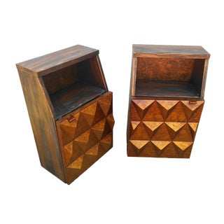 Mid-Century Modern Sculptural Diamond Front Side Tables - A Pair