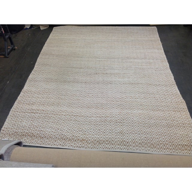 Chevron Rug in Beige and White - 9′ × 12′ - Image 2 of 9