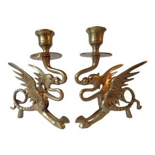 Brass Dragon Candlesticks - A Pair