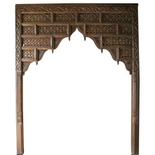 King Size Handcarved Arched Indian Palace Headboard