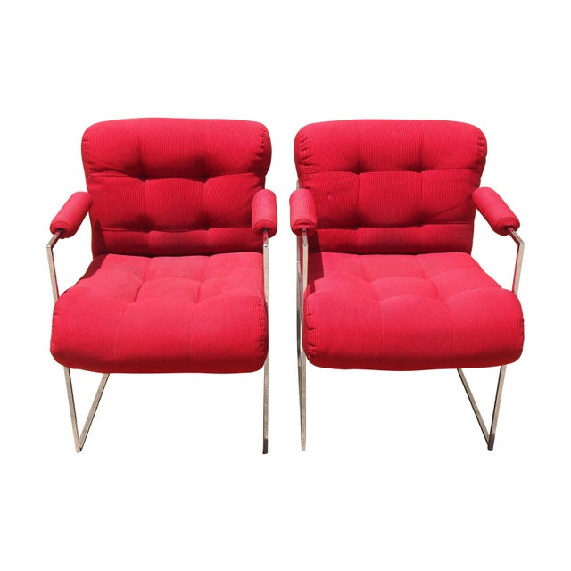 Milo Baughman Lounge Chairs in Red - A Pair - Image 1 of 3