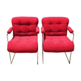 Milo Baughman Lounge Chairs in Red - A Pair