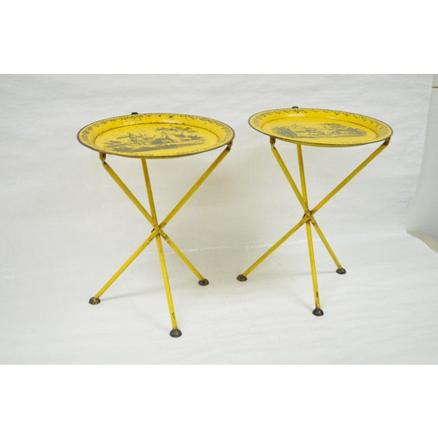 Pair of Vintage Italian Neoclassical Tole Metal Folding Side Tables Yellow Courting - Image 4 of 11