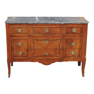 BEAUTIFUL FRENCH 18TH CENTURY LOUIS XV WALNUT AND FRUITWOOD MARQUETRY COMMODE MARBLE TOP.