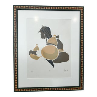 Woman Carrying Water Framed Lithograph Block Print, Signed